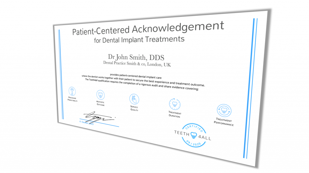 patient-centered acknowledgment as a dental implant treatment certification