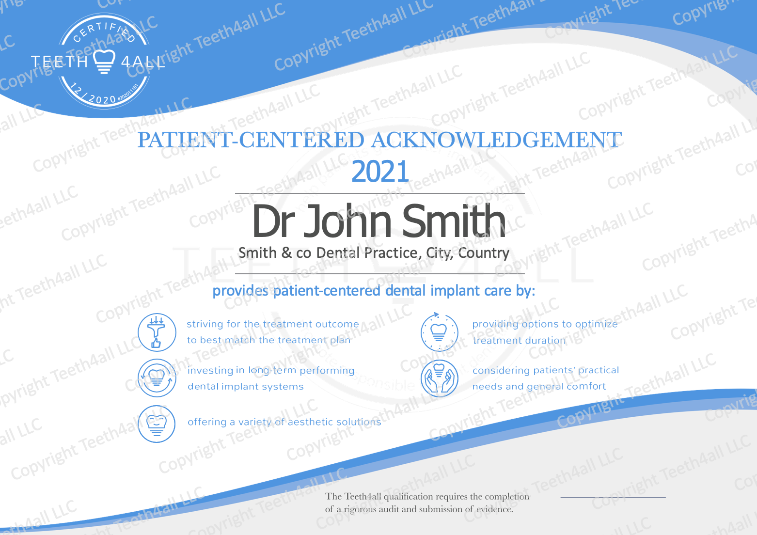 Teeth4all patient-centered dental implant certificate